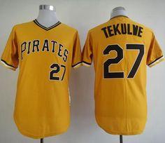Mitchell And Ness Pirates #27 Kent Tekulve Yellow Throwback Stitched MLB Jersey