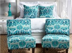 LOVING this turquoise Ikat #contemporary #bedroom