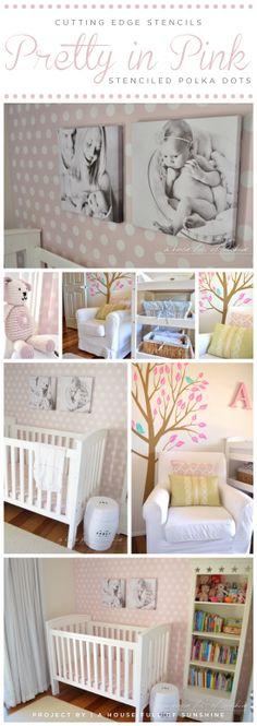 Cutting Edge Stencils shares a DIY stenciled accent wall in a pink nursery using the Polka Dot Allover Stencil. http://www.cuttingedgestencils.com/polka-dots-stencils-nursery.html