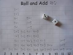 Roll, add and write the number sentence above the sum