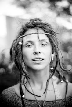 free spirit | Adorable! I worship dreads! How sensual lips, shining, pure, deep eyes, skinny cheeks, awesome piercing and so cool hairstyle! I see wildness, passion, power, natural, boho, hippie, attractive, touching, memorable beauty! Special photo!