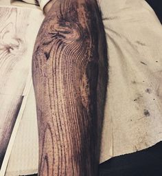 Woodgrain Sleeve Tattoo by David Allen in Chicago, Illinois