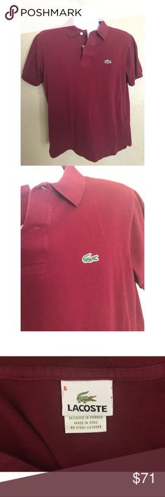 Lacoste Dark Red Polo Shirt Condition: No defects. Size: 6 Lacoste Shirts