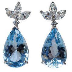 NALLY Aquamarine & Diamond Earrings