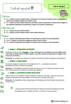 Fiche de préparation Calcul mental cycle 2 cycle 3