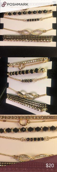 Set of 7 women's diamond and gold bracelets 💎 Diamond and gold bracelets.  Beautifully made and great shine. Seven bracelets in the pack. Jewelry Bracelets