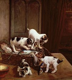 Antique painting with puppy dogs and their master's pipes