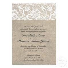 White Lace and Burlap Wedding Invitation @Kate Pischetola