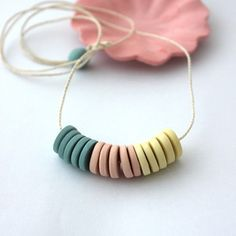 Colored porcelain necklace