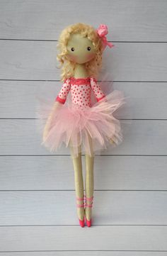 ballerina Doll,Dancing Girl ,Textile doll, decorative doll , doll cotton, rag doll  Height of doll 38cm (15 inches)  Ballerina is sewn of natural
