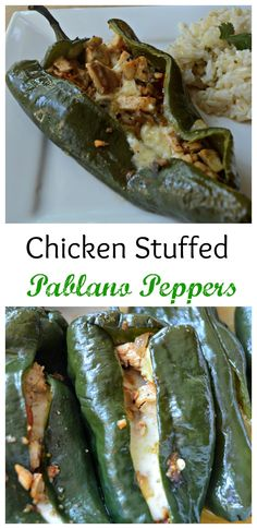 These Chicken Stuffed Poblano Peppers are the perfect healthy meal to satisfy that Mexican food craving! They are flavorful, satisfying, and easy to make!