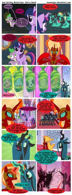 Sun Setting Misfortune MLP Comic: We're Back! by teammagix part 16