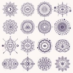Set of Sacred Geometry Forms with Eye, Moon and Sun Isolated on White. Geometric Logo Design, Spirograph Lines. Alchemy Symbol, Occult and Mystic Sign. Sacred Geometry Patterns, Geometric Symbols, Sacred Geometry Tattoo, Geometric Tattoo Design, Geometric Logo, Sacred Geometry Meanings, Geometric Mandala, Mandalas Painting, Mandalas Drawing
