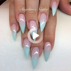 @Shadyanki Ombre Nail Colors, Blue Ombre Nails, Spa Design, Pastel Ombre, Mermaid Nail Art, Stiletto Nails, Nails Inspiration, Summer Nails, Color Combos