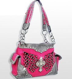 Silver and Hot Pink Western Style Rhinestone Winged Cross Studded Purse