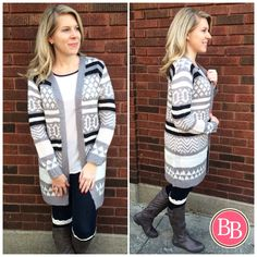 **NEW STYLE** This NEW Grey Knit Printed Cardi will be your go-to piece for those chilly Fall days!! With a touch of chevron, quatrefoil, and stripe patterns all mixed into one ahh-mazing Cardi!! • UNDER 40!!! #BBGirls #fallfashion #cardifever #style #cardiweather #sweaterweather {www.brandisboutiqueshop.co}