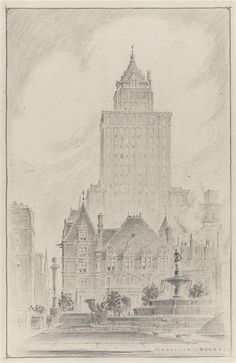 Cornelius Vanderbilt II Residence | Manhattan, NY. In this drawing, the Heckscher Building towers from behind. The Grand Army Plaza and the Pulitzer Fountain in the foreground. The Vanderbilt mansion was the largest residence ever built in New York City