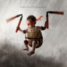 """From our """"Teenage Mutant Ninja Turtles"""" shoot ~ Declan, 6 days new {I'd also like to thank Tia for the use of """"Tom"""" the turtle in the making of this image}"""