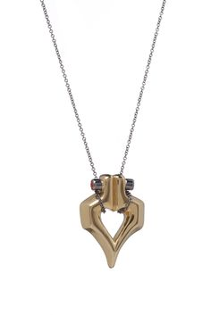This gold plated silver pendant features two shapes connected by bolts to signify the strong bond which can develop between humans after an initial visual attraction. £375