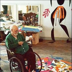 """Matisse helped pioneer the field of collage and the application of unbridled color to realistic subject matter, earning the nickname, color fauve, or """"wild beast of colors,"""" and cultivating the art style of Fauvism.  His works were filled with bright colors and whimsical shapes cut from painted papers then glued back together to create a collage that expressed happiness and lively movement"""