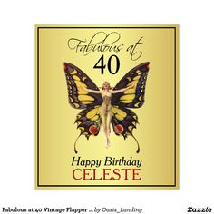 Fabulous at 40 Vintage Flapper Butterfly Wine Label - Sold at Oasis_Landing on Zazzle.