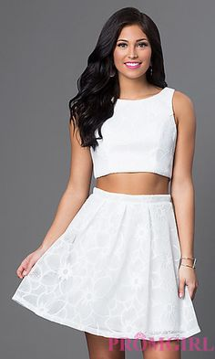 Two Piece White Graduation Dress  at PromGirl.com