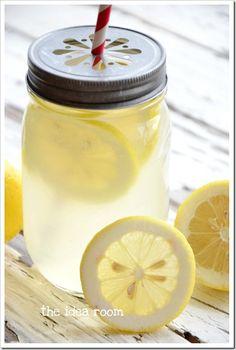 homemade lemonade recipe from The Idea Room & lemon slice mason jar lids from here: http://www.welovecitrusshop.com/product/mason-jars-lemonade-lids