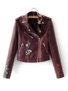 ae2002c195d0 Embroidery Lapel Zipper Short PU Jacket Embroidered Jacket