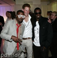 From left, Kanye West, Prince Harry and P Diddy at Wembley Stadium, north-west London, following today's star-studded pop concert in memory of Diana, Princess of Wales.