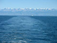 Issyk-kul and mountains.    beautiful.
