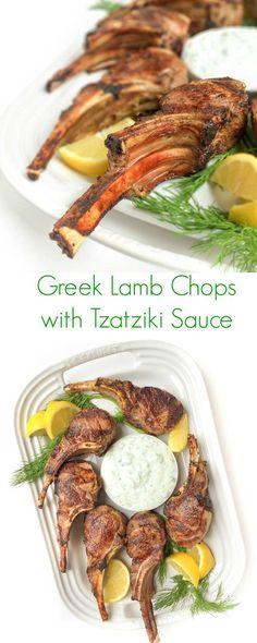 Greek Lamb Chops With Tzatziki Sauce - A fast 15 minute meal that your family wi. Greek Lamb Chops With Tzatziki Sauce - A fast 15 minute meal that your family will love! Tzatziki Sauce, Sauce Recipes, Cooking Recipes, Healthy Recipes, Receta Bbq, Grilled Lamb Chops, Marinade For Lamb Chops, Bbq Lamb Chops, Lamb Ribs