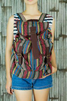 Thai ikat abstract tribal native backpack /Ethnic rucksack /School Bag /holiday bag /Hippie bag / Boho/ Folk / Gypsy / tapestry bag