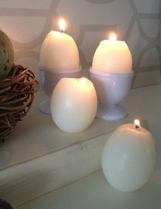 Egg candles made using empty eggshells and candle wax at apurdylittlehouse.com