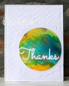 Watercolor Thanks card by Dina Kowal