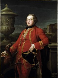 """Edward Howard"" by Pompeo Batoni (1766) at the Victoria and Albert Museum, London - For the wealthy young men who embarked on the Grand Tour in Europe, a favourite souvenir was a commissioned portrait in Italy showing the tourist in fine clothes and a Classical setting.  Pompeo Batoni was one of the most sought-after artists for these commissions."