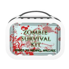 zombie survival kit with blood splatter lunch box yubo lunch box Zombie Survival, Survival Hunter, Survival Gear List, Survival Life Hacks, Survival Supplies, Survival Food, Survival Prepping, Survival Knife, Survival Skills
