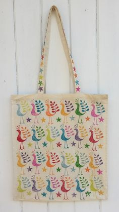 Indian Block Printed Tote Bag, printed using Bird design and a mixture of 7 different Fabric Paints!