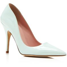 kate spade new york Licorice Pointed Toe Pumps (390 CAD) ❤ liked on Polyvore featuring shoes, pumps, heels, fresh mint, polish shoes, pointy-toe pumps, kate spade pumps, patent pumps and kate spade shoes