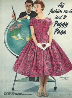 Vintage Chic 50s pink black floral print party dress short sleeves square neck full skirt color photo print ad fashion style Peggy Page label brand model magazine