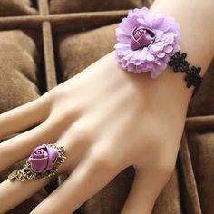 Sweet Purple Flower Embellished Lady Bracelet with Ring