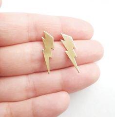Lightning Bolt EarringsGift IdeaGold Brass by MistyAurora on Etsy