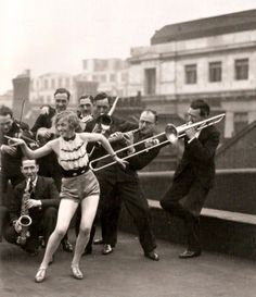 Percival Mackey's Band and Monti Ryan on the rooftop of the London Palladium, 1927.
