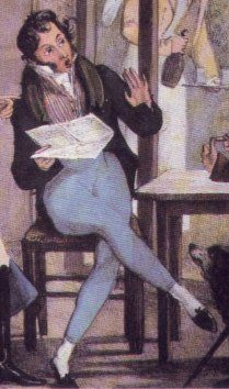 1810-1825, Pants had been slowly creeping into fashion for a good decade. It was only at this point that they became standard for casual & semicasual wear for young men with any pretensions to fashion. However, style had not yet settled down; see how loose the ones are in the image above, which the man has stuffed into his boots, versus the leggings that this man wears. Difference between men's slippers & women's was that mens seem to have had higher, straighter cut across top