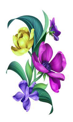 Botanical Flowers, Tropical Flowers, Types Of Flowers, Border Design, Textile Prints, Art Deco Fashion, Flower Art, Decoupage, Abstract