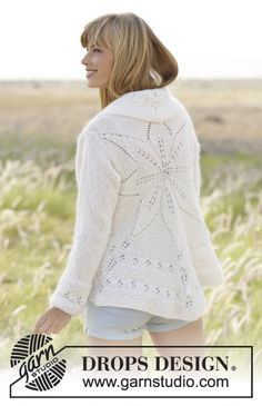 """White Flower - Knitted DROPS jacket worked in a circle with leaf pattern in """"BabyAlpaca Silk"""" and """"Kid-Silk"""". Size: S - XXXL. - Free pattern by DROPS Design"""