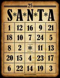 Free printable Santa bingo cards ~ an idea for Christmas future when the grandsons are a bit older
