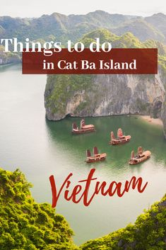 There are many things to do in Cat Ba: Explore Cat Ba national park, Trung Trang Cave and Cannon Fort, go kayaking and visit floating villages. Thailand Travel, Japan Travel, Cat Ba Island, Vietnam Travel Guide, Visit Vietnam, Explorer, Parc National, South America Travel, Koh Tao