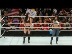 AJ Lee Returns and Saves Paige from Nikki Bella and Brie Bella: Raw, March 2, 2015 - YouTube