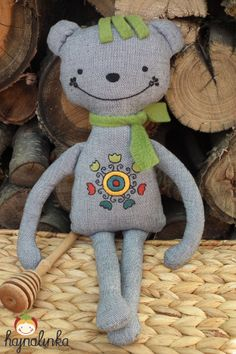 Cuddly bear with hand embroidery from Sárköz, Hungary