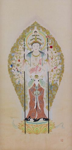 Japanese Buddhist Fine Art Painting Wall Hanging Scroll Image of the Eleven-faced Kannon, the Bodhisattva of mercy.